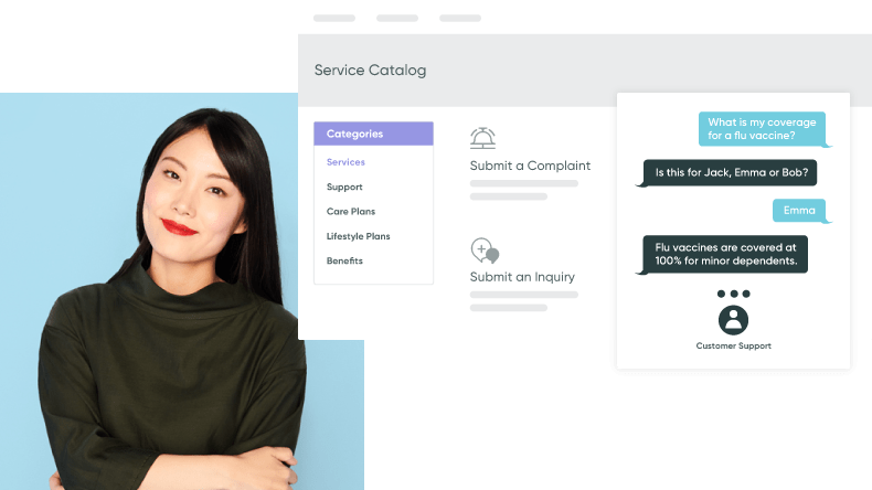 Portrait of woman next to instant chat screenshot that depicts healthcare payer platform service options.