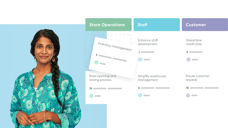 Woman in a blouse next to a screen displaying a workflow for retail store operations and customer care.