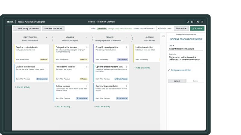 Kanban-style board for no-code application development